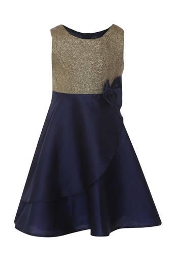 Girls Round Neck Shimmer A-Line Dress
