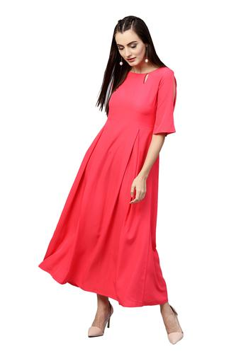 Womens Key Hole Neck Solid Maxi Dress