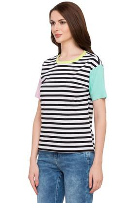 Womens Round Neck Striped Top