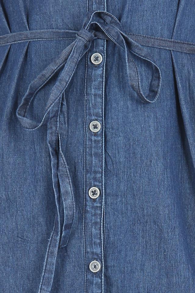 Womens Mandarin Collar Washed Denim Shirt Dress