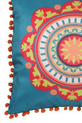 Square Ethnic Printed Pom Pom Cushion Cover