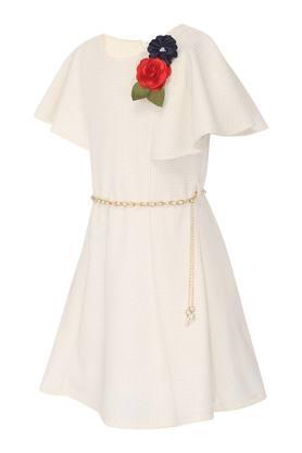 Girls Round Neck Embellished A-Line Dress with Belt