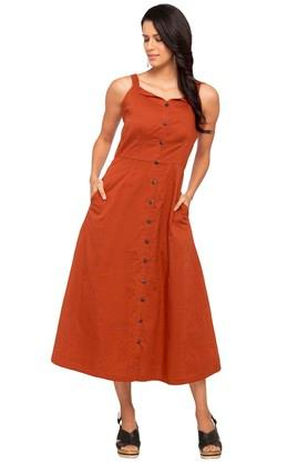 Womens Square Neck Solid A-Line Dress