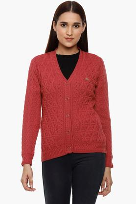 MONTE CARLO Womens V-Neck Knitted Pattern Cardigan - 204635090_9557