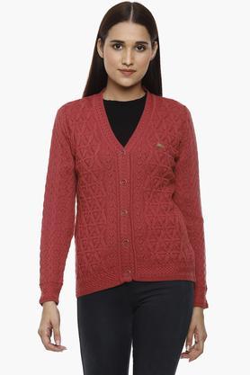 MONTE CARLOWomens V-Neck Knitted Pattern Cardigan - 204635090_9557