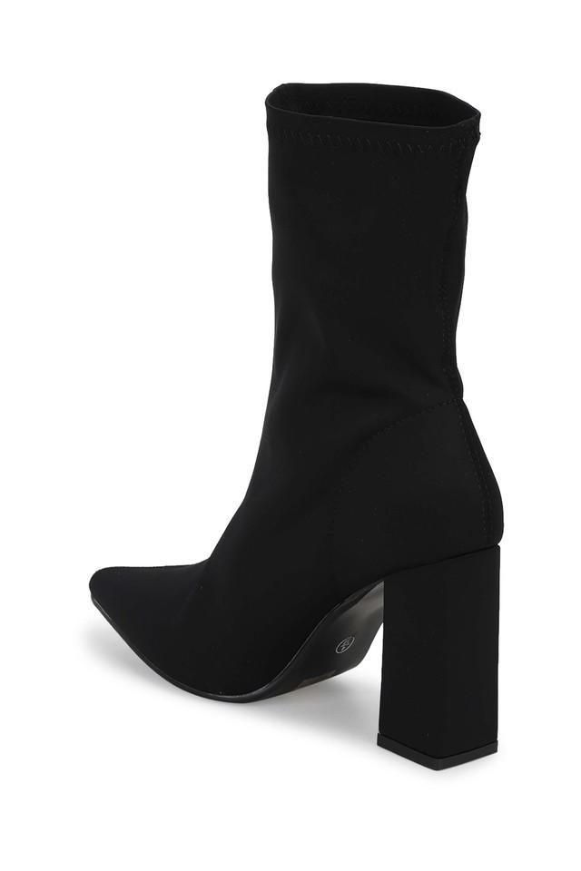 Womens Slip On Heeled Ankle Boots
