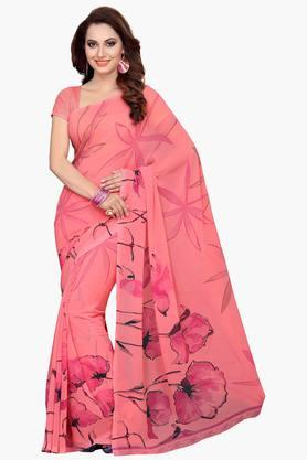 ISHIN Womens Faux Georgette Floral Printed Saree