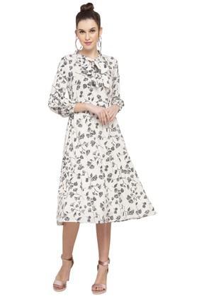 Womens Tie Up Neck Printed Midi Dress