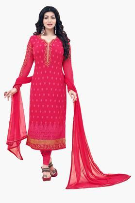 VRITIKA Womens Embroidered Straight Cut Suit