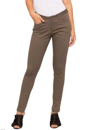 Womens 4 Pocket Solid Pants
