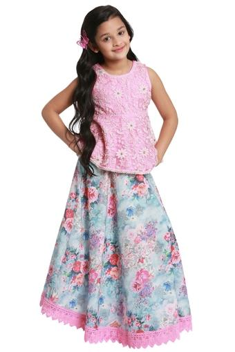 Girls Round Neck Straight Fit Printed Lehenga and Choli Set