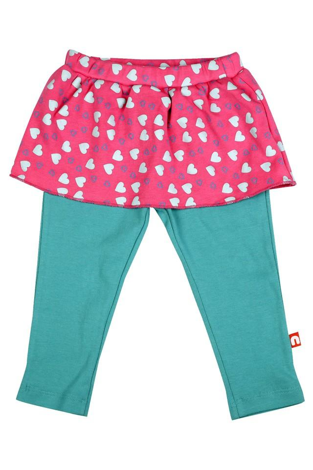 Girls Round Neck Printed Top Skirt and Pants Set