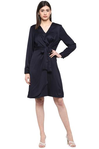 Womens V Neck Solid Wrap Dress