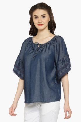 Womens Tie-up Neck Solid Blouse