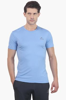 ALCIS Mens Slim Fit Round Neck Solid T-Shirt - 203098771
