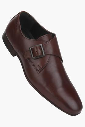 Mens Leather Buckle Closure Monks