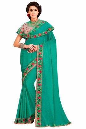 ASHIKA Plain Georgette Silk Saree With Blouse Piece - 204034593_9452