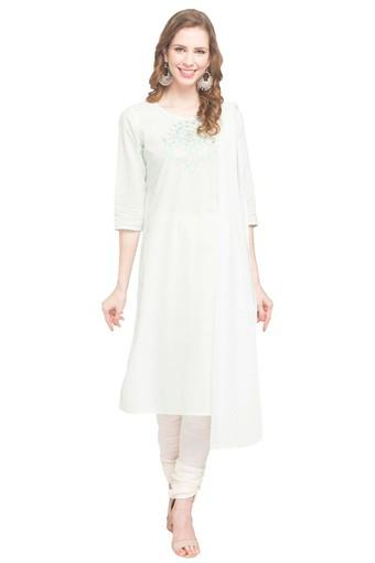 Womens Round Neck Slub Churidar Suit