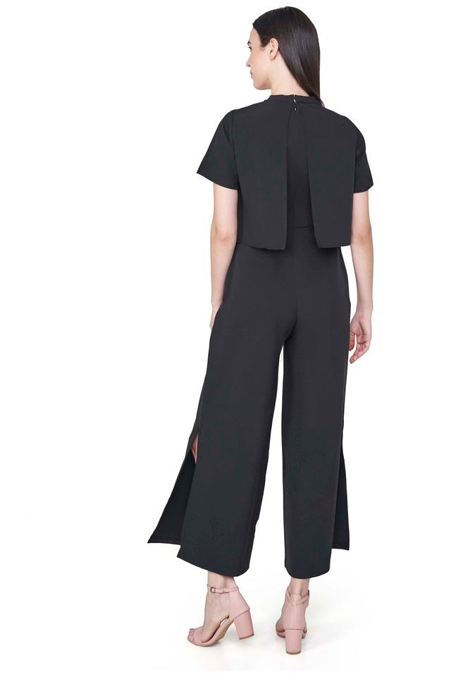 Womens High Neck Solid Jumpsuit