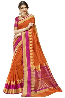 DEMARCA Womens Colour Block Gold Woven Saree With Blouse Piece