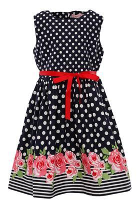 Girls Dot Pattern Flared Dress