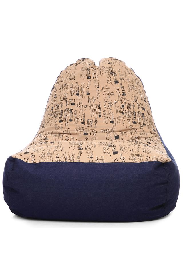 Denim Canvas Abstract Printed Chair Bean Bag XXL Size with Fillers