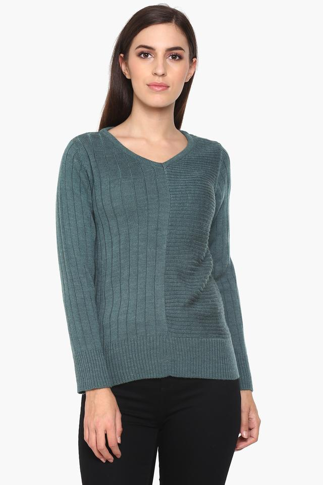 Womens V Neck Knitted Sweater