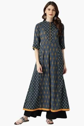 LIBAS Womens Cotton Printed A-Line Kurta - 203862752