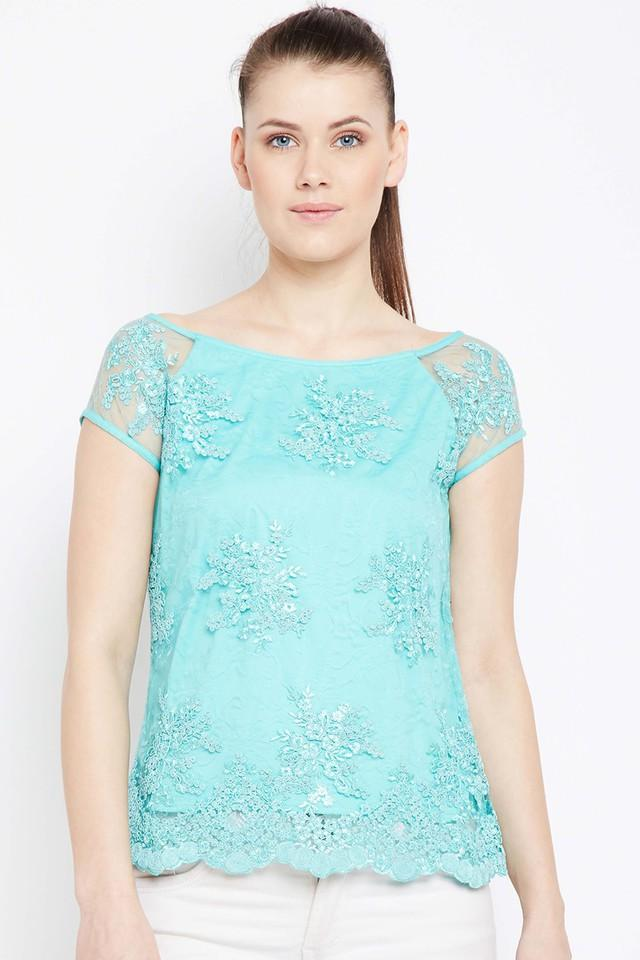 Womens Boat Neck Lace Top