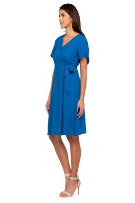 Womens Surplice Neck Self Printed Wrap Dress
