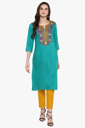 JUNIPER Womens Blend Long Kurta With Pintucks & Cuff Sleeves - 204030229_9463