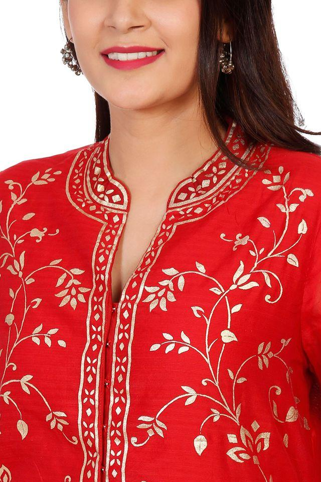 Womens Mandarin Neck Printed Embroidered Kurta