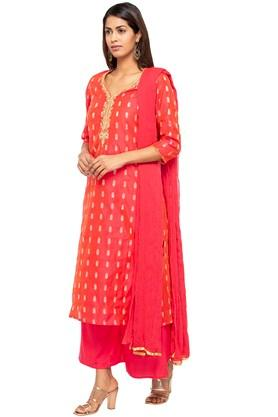 Womens V Neck Embroidered Palazzo Suit