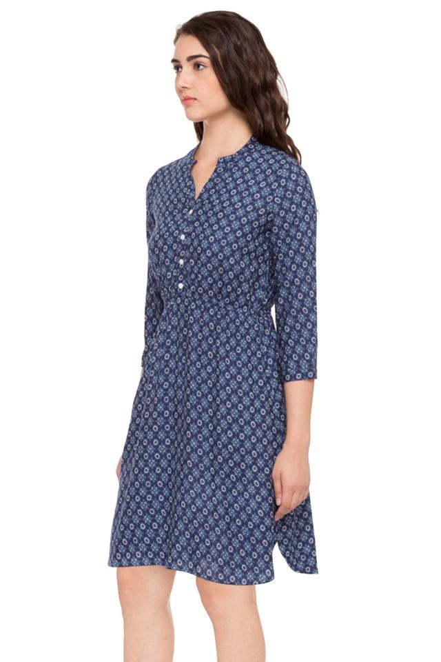 Womens Mandarin Neck A-Line Dress