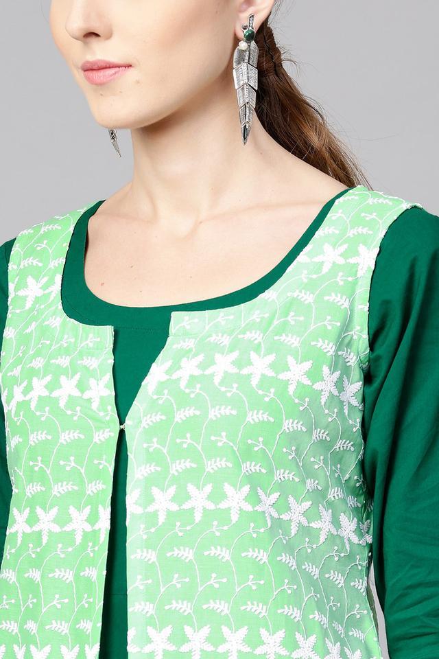 Womens Round Neck Printed Kurta with Jacket
