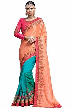 VRITIKA Womens Embroidered Saree With Blouse - 204144523_9506