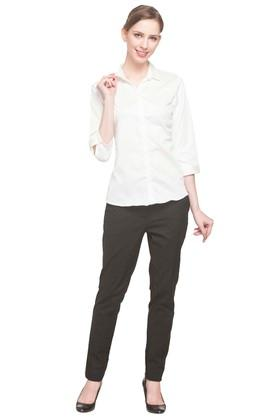 Womens Collared Solid Shirt