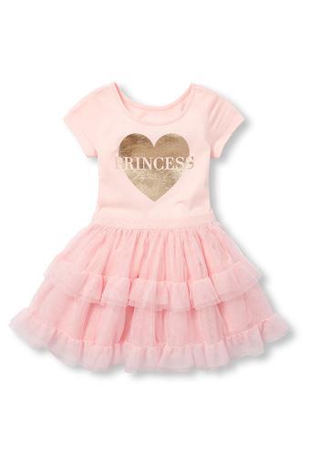 Girls Round Neck Shimmer Dress