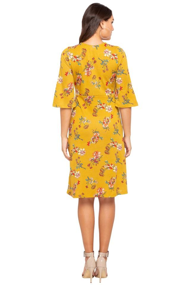 Womens Key Hole Neck Floral Print Knee Length Dress
