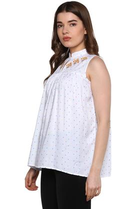Womens Key Hole Neck Embroidered Top