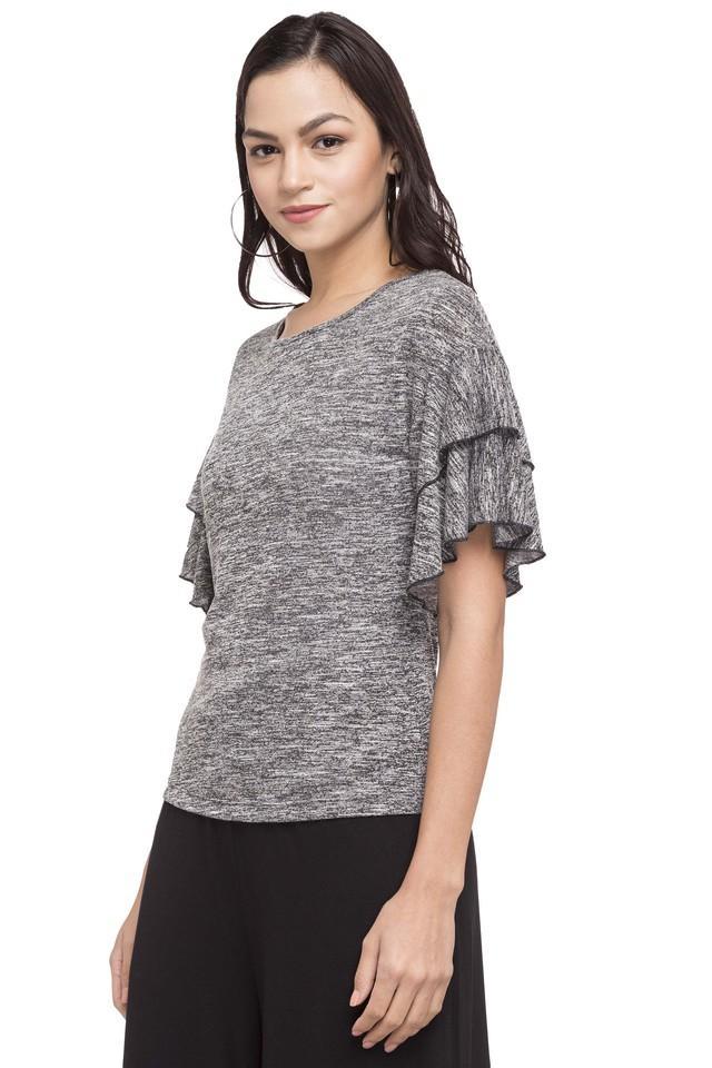 Womens Round Neck Textured Top