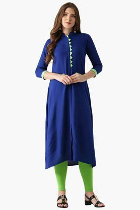 LIBAS Womens Rayon Solid Straight Kurta With Front Pocket