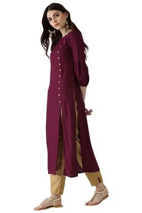 Womens Rayon Solid Kurta And Checks Trouser