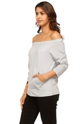 Womens Off Shoulder Neck Solid Sweatshirt