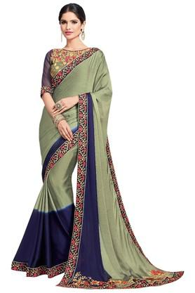 ASHIKA Plain Soft Silk Saree With Blouse Piece - 204034552_7086