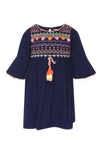 Girls Round Neck Embroidered Flared Dress
