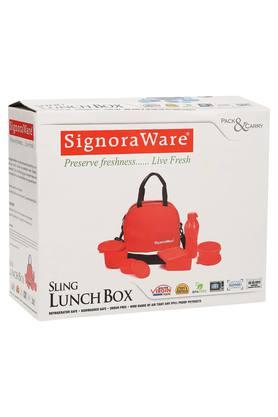 SIGNORAWARE Airtight 4 Containers, 1 Bottle And Lunch Box With Bag Set Of 5