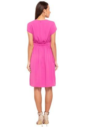 Womens Round Neck Solid Wrap Dress
