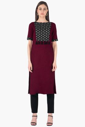 INDYA Womens Round Neck Printed Regular Fit Kurta - 203316626