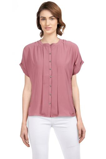 Womens Mandarin Collar Solid Pleated Shirt